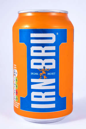 LONDON, UK - JULY 7TH 2017: An unopened can of Irn-Bru, over a plain white background, on 7th July 2017. Editorial