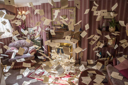 LEAVESDEN, UK - JUNE 19TH 2017: The movie set of the living room at 4 Privet Drive at the Making of Harry Potter Studio tour at the Warner Bros. Studios in Leavesden, UK, on 19th June 2017.