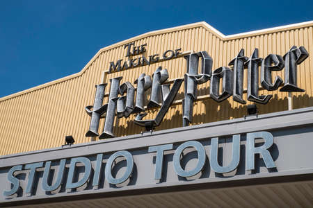 LEAVESDEN, UK - JUNE 19TH 2017: The sign above the main entrance to the Making of Harry Potter tour at Warner Bros studio in Leavesden, UK, on 19th June 2017. Editorial