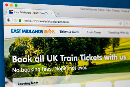 LONDON, UK - JUNE 8TH 2017: The homepage of the official website for East Midlands Trains, on 8th June 2017.  The company is owned by Stagecoach Group.