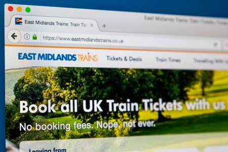 ロンドン、イギリス - 2017 年 6 月 8 日: 2017 年 6 月 8 日で、東ミッドランズの列車の公式サイトのホームページです。同社は、駅馬車のグループによ