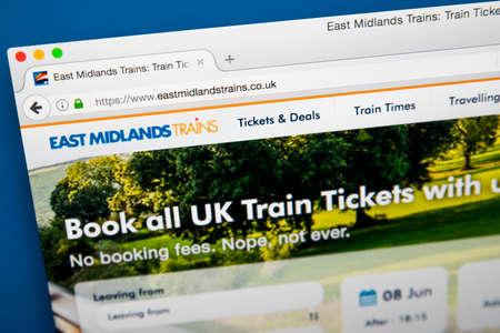 ロンドン、イギリス - 2017 年 6 月 8 日: 2017 年 6 月 8 日で、東ミッドランズの列車の公式サイトのホームページです。 同社は、駅馬車のグループによ 報道画像