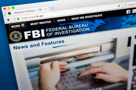 LONDON, UK - JUNE 8TH 2017: The homepage of the official website for the Federal Bureau of Investigation, on 8th June 2017.