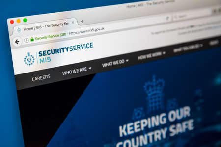 counter terrorism: LONDON, UK - JUNE 8TH 2017: The homepage of the official website for the MI5 Security Service, on 8th June 2017.  The MI5 is the UKs domestic counter-intelligence and security agency. Editorial