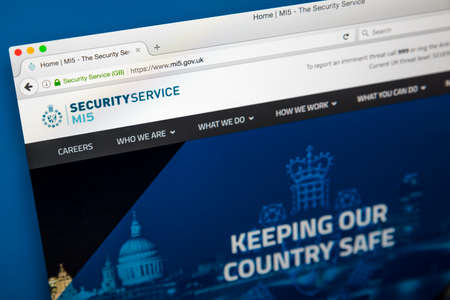 LONDON, UK - JUNE 8TH 2017: The homepage of the official website for the MI5 Security Service, on 8th June 2017.  The MI5 is the UKs domestic counter-intelligence and security agency. Editorial