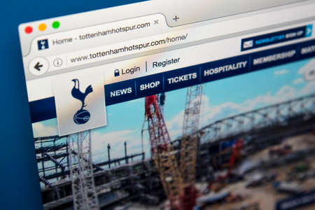 LONDON, UK - JUNE 8TH 2017: The homepage of the official website for Tottenham Hotspur Football Club, on 8th June 2017.