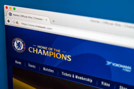 LONDEN, Verenigd Koninkrijk - 8 juni 2017: de startpagina van de officiële website voor Chelsea Football Club, op 8 juni 2017.