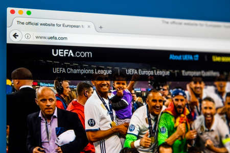 governing: LONDON, UK - JUNE 8TH 2017: The homepage of the official website for UEFA, on 8th June 2017.  UEFA is the administrative body for association football in Europe.