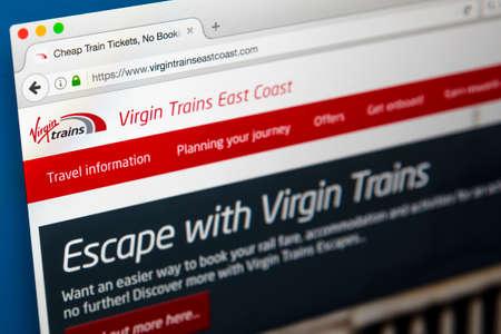 ロンドン、イギリス - 2017 年 6 月 8 日: 処女列車東海岸のため、2017 年 6 月 8 日に公式サイトのホームページです。 報道画像