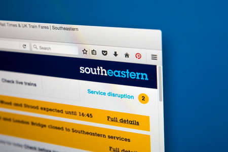 ロンドン、イギリス - 2017 年 6 月 8 日: 2017 年 6 月 8 日に、南東の鉄道の公式サイトのホームページです。
