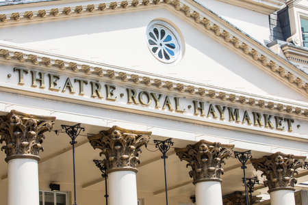 front end: A view of the main facade to the Theatre Royal Haymarket in central London, UK.