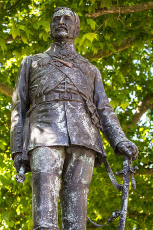 A statue of Field Marshal Sir John Fox Burgoyne situated on Waterloo Place in London, UK.