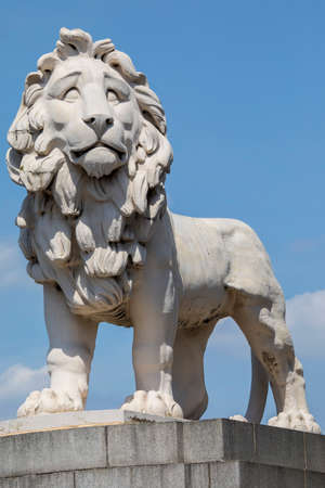 A close-up shot of the South Bank Lion in London, UK.