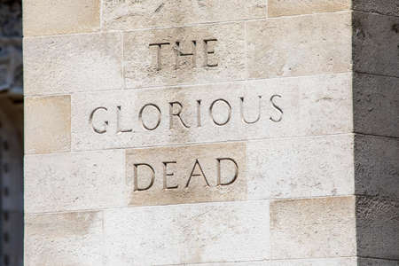 A close-up view of The Glorious Dead inscription on the Cenotaph in the city of Westminster in London, UK. Stock fotó