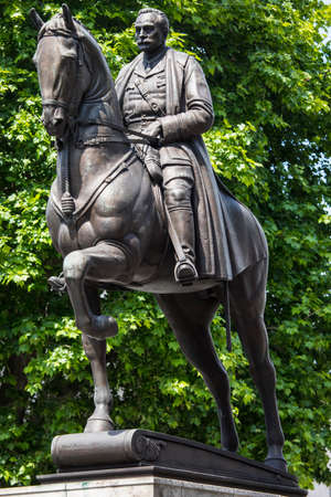 An esquestrian statue of Field Marshal Earl Haig, located on Whitehall in London, UK. Stock Photo