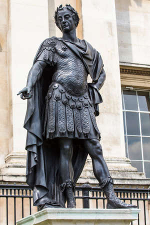 A statue of James II at the front of the National Gallery in London, UK.