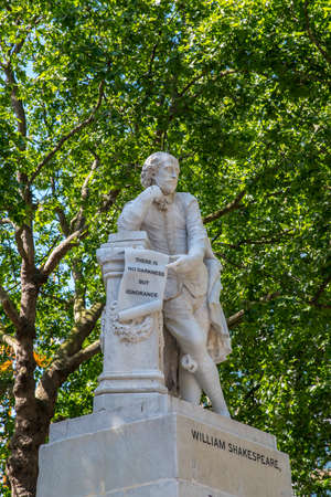A statue of historic playwright William Shakespeare, located in Leicester Square in London, UK.