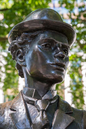 LONDON, UK - JUNE 14TH 2017: A statue of famous actor Charlie Chaplin, located in Leicester Square in London, UK, on 14th June 2017. Editorial