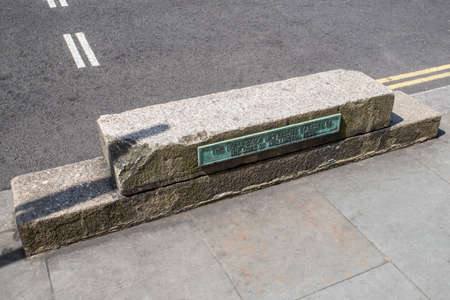 A horse-block on Waterloo Place in central London, erected by the desire of the Duke of Wellington in 1830. Stock Photo