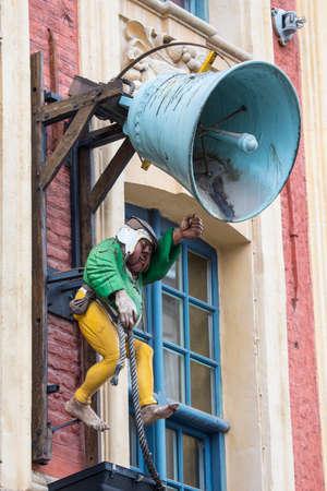 The bell ringer sign above the Brasserie de la Cloche in Lille, France.