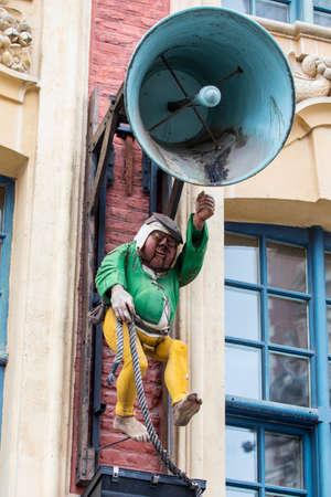 brasserie: The bell ringer sign above the Brasserie de la Cloche in Lille, France.