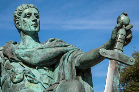 A statue of Roman Emperor Constantine the Great, located at York Minster in the historic city of York, England.