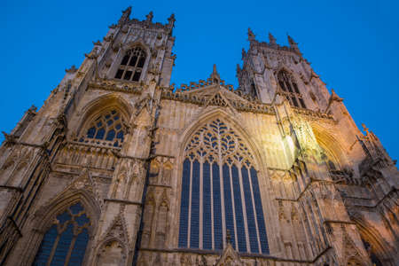peter the great: The magnificent York Minster at dusk, in the historic city of York in England.