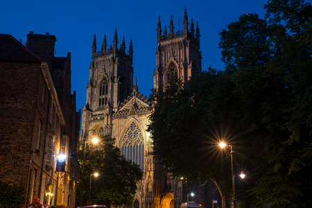 The magnificent York Minster at dusk, in the historic city of York in England.