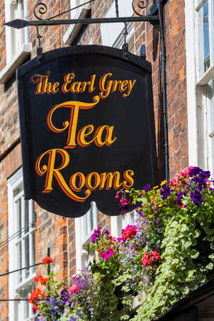 shopfront: YORK, UK - JULY 18TH 2017: The sign above The Earl Grey Tea Rooms on the Shambles in the historic city of York in the UK, on 18th July 2017.