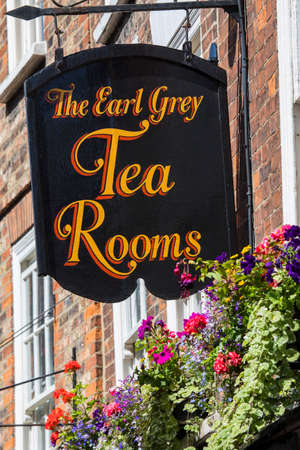 YORK, UK - JULY 18TH 2017: The sign above The Earl Grey Tea Rooms on the Shambles in the historic city of York in the UK, on 18th July 2017.