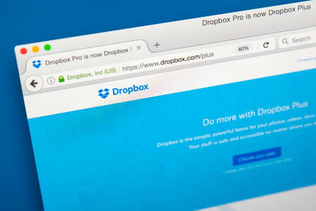 LONDON, UK - AUGUST 7TH 2017: The homepage of the official website for Dropbox - the web-based file hosting and sharing service, on 7th August 2017. Editorial