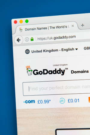 LONDON, UK - AUGUST 7TH 2017: The homepage of the official website for GoDaddy - the American internet domain registrar and web hosting company, on 7th August 2017.