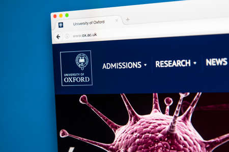 LONDON, UK - AUGUST 7TH 2017: The homepage of the official website for the University of Oxford, on 7th August 2017. Editorial