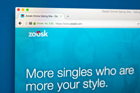 LONDON, UK - AUGUST 7TH 2017: The homepage of the website for Zoosk, the online dating service, on 7th August 2017.
