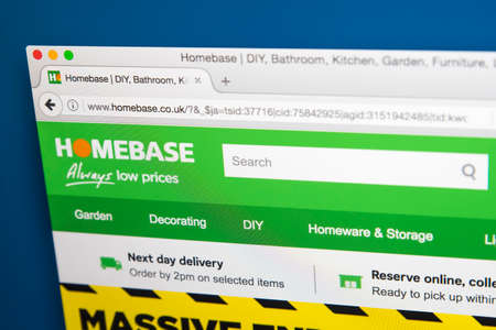 LONDON, UK - AUGUST 10TH 2017: The homepage of the official website for Homebase, the British home-improvement retailer, on 10th August 2017.