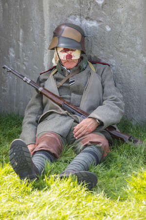 KENT, UK - AUGUST 28TH 2017: An actor posing as a wounded German soldier from the First World War, at the Military Odyssey Re-enactment event in Detling, Kent, on 28th August 2017. Editorial
