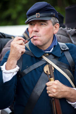 KENT, UK - AUGUST 28TH 2017: Actor posing as a Union soldier from the American Civil War, at the Military Odyssey Re-enactment event in Detling, Kent, on 28th August 2017.