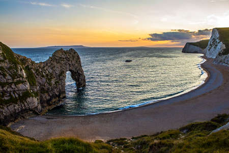 archways: A view of the magnificent Durdle Door along the Jurassic coast in Dorset, UK. Stock Photo
