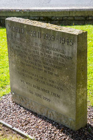 DORCHESTER, UK - AUGUST 15TH 2017: A memorial in the grounds of The Keep in Dorchester, commemorating all those servicemen and women who served in Dorchester and all over the world during the Second World War, taken on 15th August 2017.