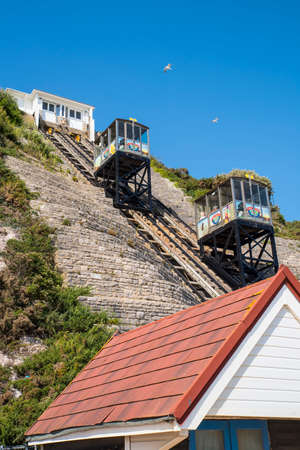 BOURNEMOUTH, UK - AUGUST 16TH 2017: The East Cliff Railway on Bournemouth seafront in Dorset, UK, on 16th August 2017.