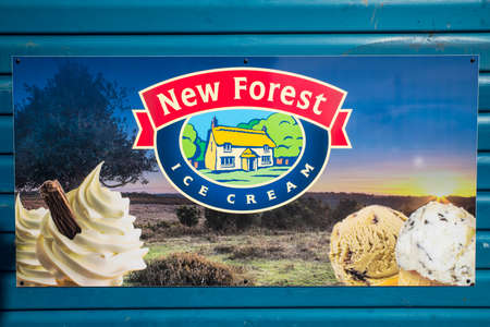 BOURNEMOUTH, UK - AUGUST 17TH 2017: A sign advertising New Forest Ice Cream on a kiosk on Bournemouth seafront, on 17th August 2017. Editorial