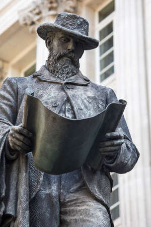 LONDON, UK - AUGUST 25TH 2017: Statue of civil engineer James Henry Greathead, at the Royal Exchange in London, on 25th August 2017. He is known for his work on the London Underground railway.