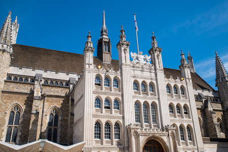 A view of the magnificent facade of Guildhall in the City of London, UK. Editorial