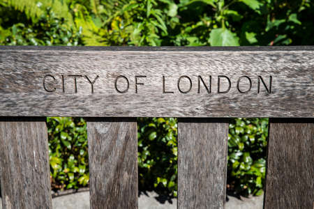 City of London engraved on a bench.