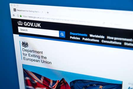 런던, 영국 -10 월 30 일 2017 : 2017 년 10 월 30 일에 영국 정부 웹 사이트에서 유럽 연합을 종료하는 부서의 홈페이지.