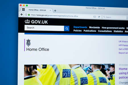 LONDON, UK - OCTOBER 30TH 2017: The homepage of the Home Office on the UK Government website, on 30th October 2017.