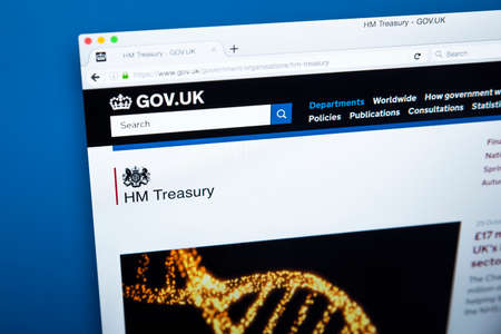 LONDON, UK - OCTOBER 30TH 2017: The homepage of Her Majestys Treasury on the UK Government website, on 30th October 2017.