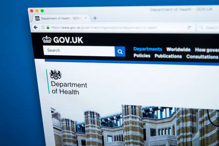 LONDON, UK - OCTOBER 30TH 2017: The homepage of the Department of Health on the UK Government website, on 30th October 2017.