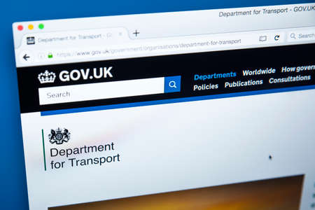 LONDON, UK - OCTOBER 30TH 2017: The homepage of the Department for Transport on the UK Government website, on 30th October 2017.