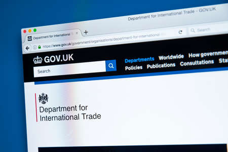 LONDON, UK - OCTOBER 30TH 2017: The homepage of the Department for International Trade on the UK Government website, on 30th October 2017. 에디토리얼